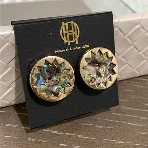 House of Harlow abalone earrings